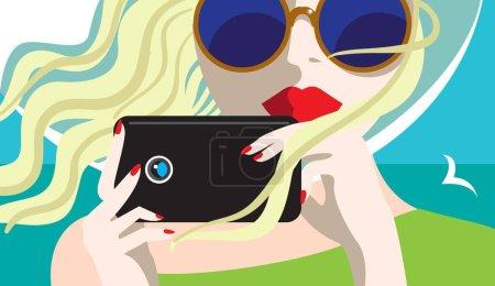 创意概念向量。女人脸上带着照相机
