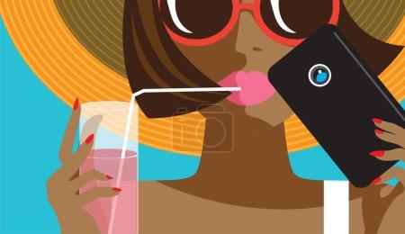 创造性的概念向量。带手机和鸡尾酒的女人脸