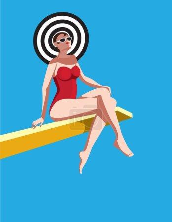 创意概念向量。坐在阳光下板上的女人