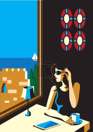 创意概念向量。女人坐在一家餐厅与一杯咖啡