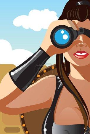 创意概念向量。女人看通过双筒望远镜