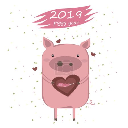Creative postcard for New 2019 Year with cute pig. Illustration cartoon isolated.