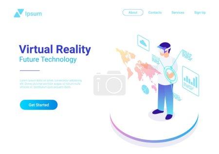 等特元扁平 vr 头盔虚拟现实眼镜矢量插图的概念。使用眼镜界面的人网页横幅模板_高清图片_邑石网