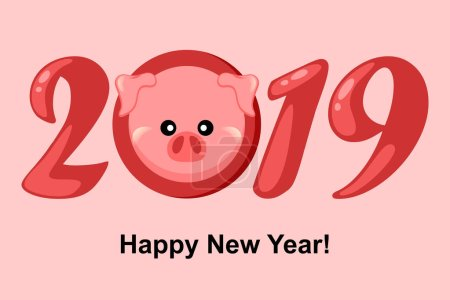 Pig. New Year 2019. Greetting card with cartoon piggi