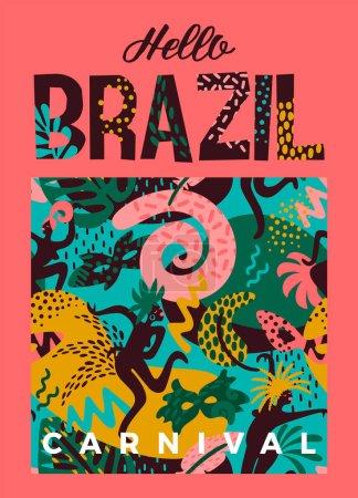 巴西狂欢节。传染媒介例证与时尚抽象元素