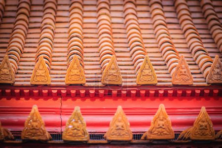 Amazing Buddha image pattern on roof tiles at Wat Benchamabophit Temple (The Marble Temple), Bangkok, Thailand.