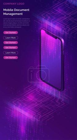 具有大数据流等轴测横幅的智能手机_高清图片_邑石网