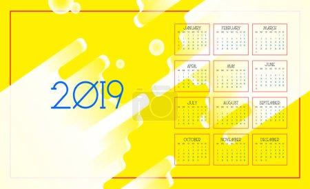2019年日历。五颜六色的抽象背景。星期日一周的第一天。向量2019年新年日历在干净的最小的桌简单的样式和黄色_高清图片_邑石网
