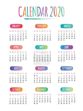 2020年日历涂鸦绘图向量,周从星期日开始,白色背景_高清图片_邑石网