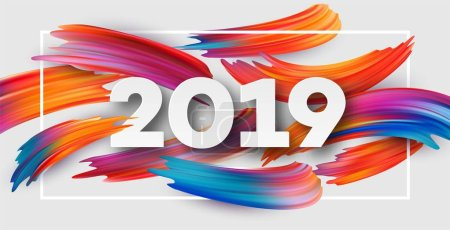 2019新年背景上有彩色一笔油或丙烯酸漆设计元素。矢量插图