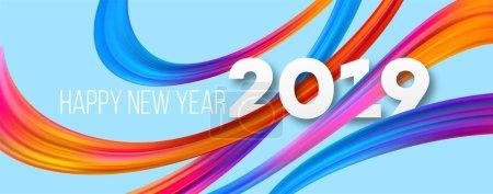 Happy New Year 2019 acrylic banner design