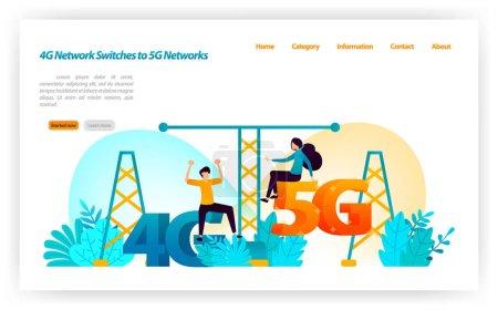 将 4g Lte 网络转换为最新的 5g 网络。交换机互联网网络和无线设备。用于着陆页、ui ux、Web、移动应用、海报、横幅、营销、促销、广告、文档、广告的矢量插图概念_高清图片_邑石网