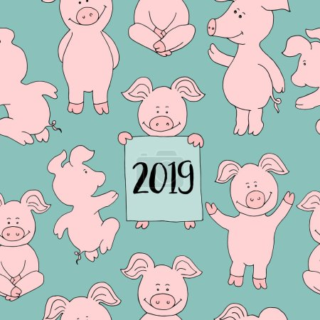 Seamless pig collection set. banner happy new year greeting card. Cute pig cartoon. Vector isolated illustration.  Farm animal icon set. Piggy symbol 2019.
