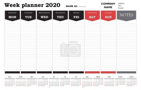 公司和私人使用的2020年周未规划人员日历、时间表和组织者_高清图片_邑石网