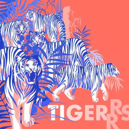 Graphic design with tigers standing, walking and roaring among the exotic leaves and trees
