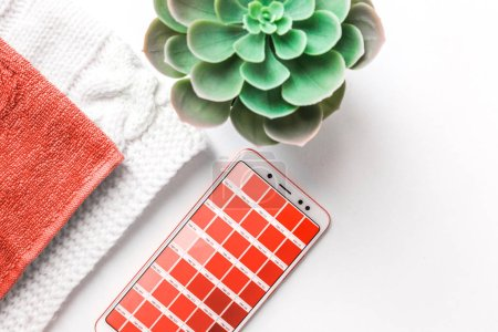 Color of the year 2019 Living coral . COY 2019 Livingcoral. Color palette on mobile phone