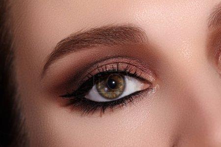 用经典的眼线妆容拍出美丽的女性眼部宏观照片。完美的眉毛,棕色眼部和长长的睫毛。化妆品和化妆品。服装衬里的大头照面容_高清图片_邑石网