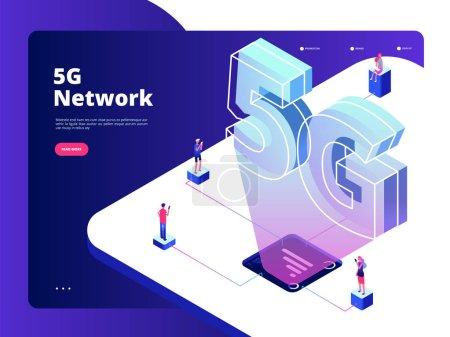 网络 5g。无线数据传输 5g 技术 互联网速度宽带 五大热点 wifi 全球联网着陆矢量页面_高清图片_邑石网