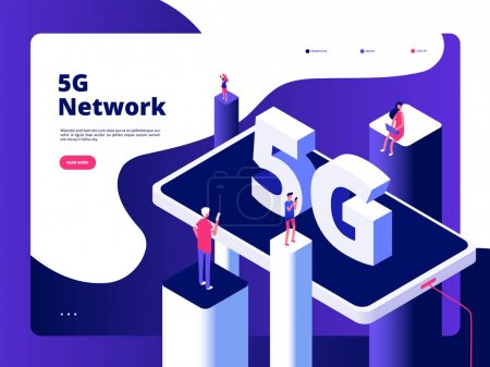 5g concept. Smartphone broadcaster 5g technology speed internet broadband fifth hotspots wifi global network telecommunication vector