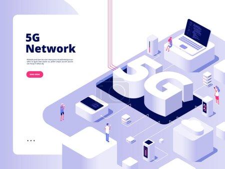 5g 概念。Wifi 电信 5g 技术速度 互联网宽带 第五热点 wifi 全球网络电信等轴测矢量_高清图片_邑石网