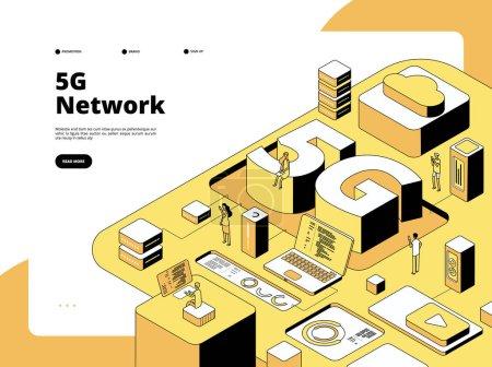 5g 概念。Wifi 广播 5g 技术,智能手机速度互联网。全球网络热点等距矢量着陆页_高清图片_邑石网