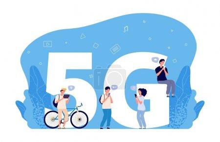 5g 互联网概念。平面人物,在线对话,网友搜索。5g 网络无线技术,用于与移动电话通信_高清图片_邑石网