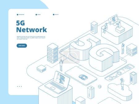 5g 着陆页。Wifi广播5g技术,在设备中加速互联网。全球网络电信等轴测矢量概念_高清图片_邑石网