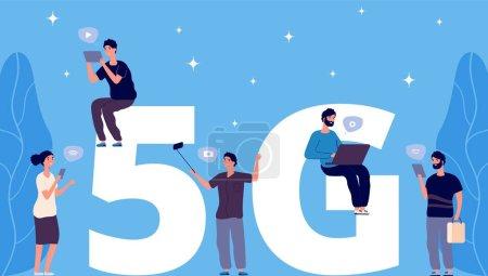 5g 概念。扁平的小人与手机和笔记本电脑矢量字符。5g 无线连接_高清图片_邑石网