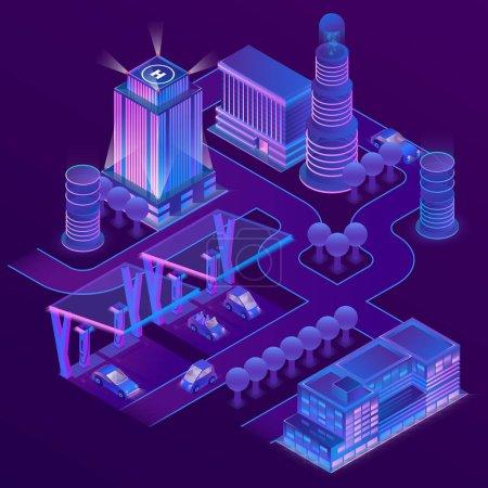 矢量3d 等距城市在紫外线颜色
