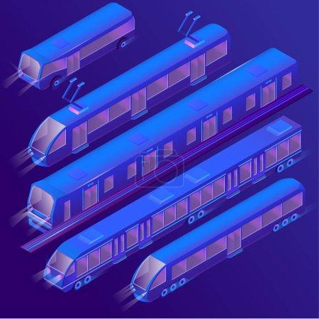 矢量3d 等距紫电车, 电车, 地铁