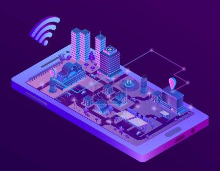 智能手机屏幕上的矢量等距智能城市