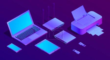 矢量3d 等距紫外线笔记本电脑, 打印机