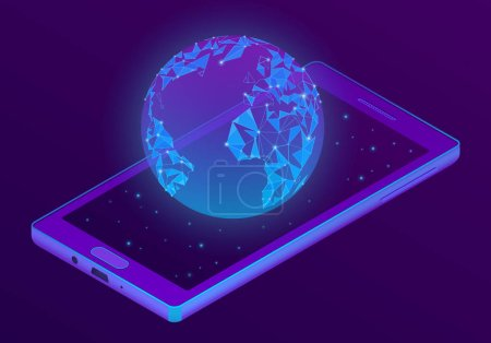 Vector 3d isometric smartphone with world hologram