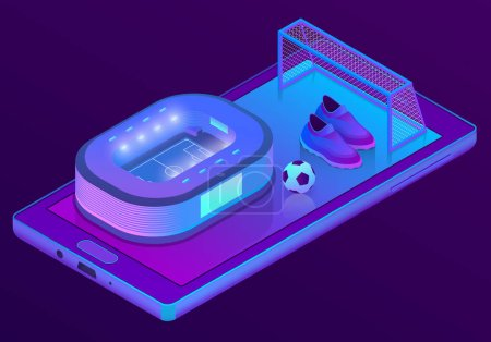 Vector 3d isometric smartphone with football stadium