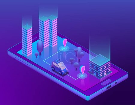 Vector isometric smart taxi app for smartphone