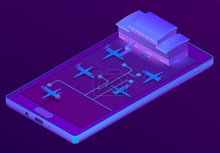 Vector 3d isometric smartphone - booking of tickets
