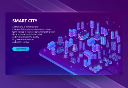 Vector site with 3d isometric ultraviolet megapolis