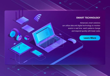 Vector 3d isometric site with smart devices