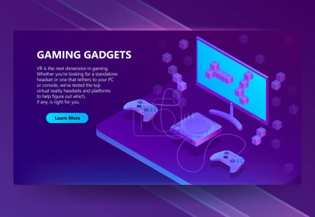 Vector 3d isometric gaming site, electronic devices