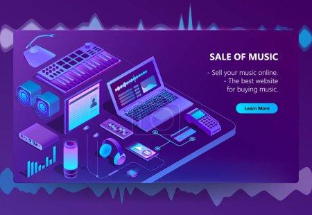 Vector 3d isometric e-commerce site of music