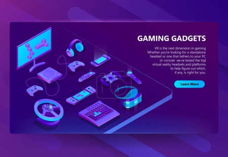 Gaming gadgets vector isometric concept background