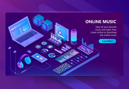 Vector 3d isometric site of listening music