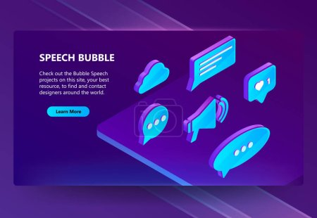3d vector isometric icons of speech bubbles