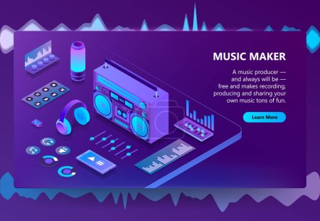 Music and recording production vector illustration