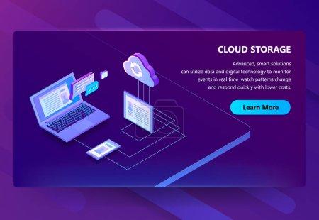 Cloud storage web technology vector illustration background