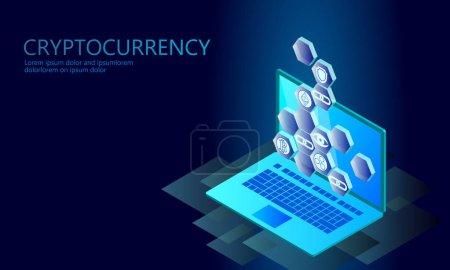 等距互联网 cryptocurrency 硬币的经营理念。蓝色发光等距比特币虚灵议会波纹币融资挖掘 pc 笔记本电脑未来技术。3d 图表矢量图_高清图片_邑石网