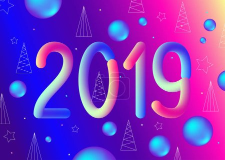 2019 New Year abstract  fluid background in trendy holographic ultra violet color. Gradient  neon geometrical  backdrop. Futuristic vector Christmas template.
