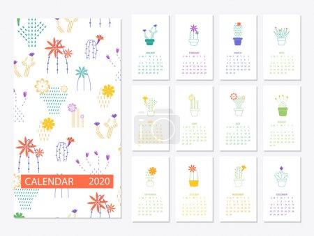 日历 2020 设置与仙人掌多汁在简约 _高清图片_邑石网