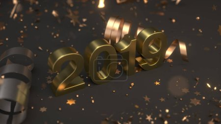 Golden 2019 number with confetti and serpentine on black background. 2019 new year sign. 3D rendering illustration